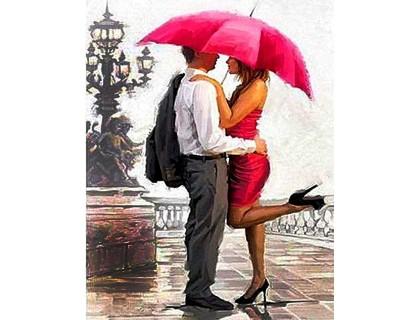 Купить Алмазная вышивка на подрамнике Поцелуй под зонтом 40 х 50 см (арт. TN953)