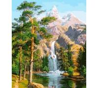 Алмазная вышивка на подрамнике 40 х 50 см Величественные горы и водопад (арт. TN957)