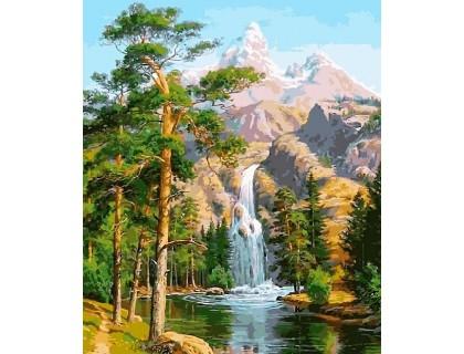 Купить Алмазная вышивка на подрамнике 40 х 50 см Величественные горы и водопад (арт. TN957)