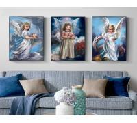 Алмазная вышивка на подрамнике Триптих Три ангелочка 3 х 40 х 50 см (арт. TN739+TN738+TN925)