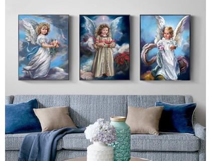 Купить Алмазная вышивка на подрамнике Триптих Три ангелочка 3 х 40 х 50 см