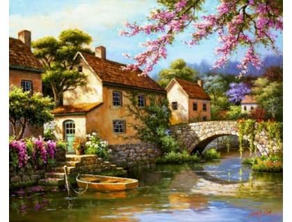Купить Алмазная вышивка Дом у реки 40 х 30 см (арт. FS056)