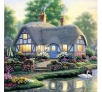 Алмазная вышивка Дом у пруда с лебедями 25 х 25 см (арт. FS075)