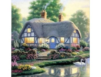 Купить Алмазная вышивка Дом у пруда с лебедями 25 х 25 см (арт. FS075)