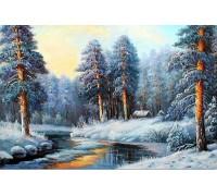 Алмазная вышивка Лес зимой 30 х 20 см (арт. FS187)