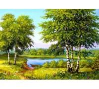 Алмазная вышивка Лес у реки 25 х 20 см (арт. FS188)