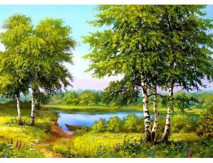 Купить Алмазная вышивка Лес у реки 25 х 20 см (арт. FS188)