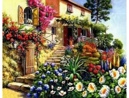 Купить Алмазная вышивка Двор в цветении 30 х 30 см (арт. FS192)