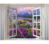 Алмазная вышивка Окно в сад 40 х 50 см (арт. FS203) полное заполнение