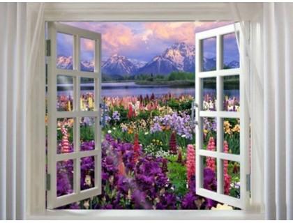 Купить Алмазная вышивка Окно в сад 40 х 50 см (арт. FS203) полное заполнение