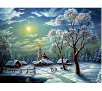 Алмазная вышивка Зимняя ночь в деревне 30*40 см (арт. FS206)