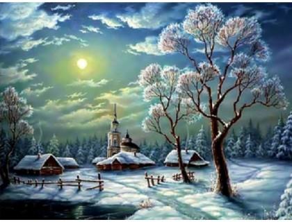 Купить Алмазная вышивка Зимняя ночь в деревне 30*40 см (арт. FS206)