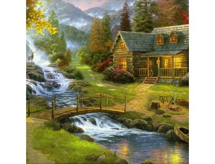 Купить Набор алмазной вышивки Дом у реки 30 х 30 см (арт. FS228)