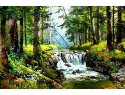 Купить Комплект алмазной вышивки Природный водопад 40 х 30 см (арт. FS277)