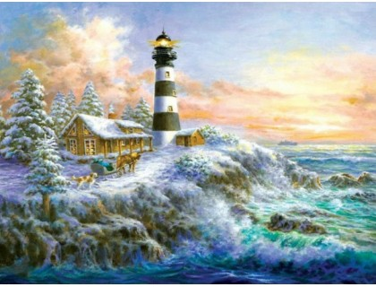 Купить Алмазная мозаика Маяк у моря  30 х 40 см (арт. FS332)