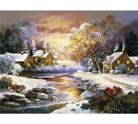 Алмазная вышивка Пейзаж зимней ночи 30*40 см (арт. FS340)