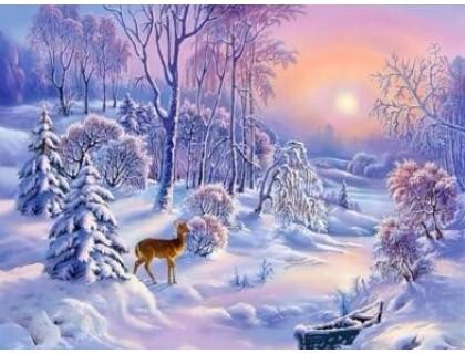 Купить Алмазная вышивка Зимний лес 30*40 см (арт. FS355)