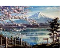 Алмазная вышивка Сакура на берегу горного озера 40 х 50 см (арт. FS372)