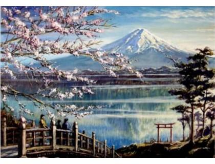 Купить Алмазная вышивка Сакура на берегу горного озера 40 х 50 см (арт. FS372)
