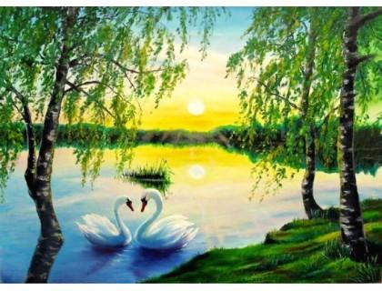 Купить Мозаика камнями Лебеди на пруду 30 х 40 см (арт. FS734)