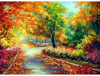 Купить Алмазна вишивка 40 х 30 см на підрамнику Яскраві кольори осені (арт. TN038)