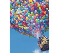 DIY Алмазная вышивка 40 х 30 см на подрамнике Полет на воздушных шарах (арт. TN068)