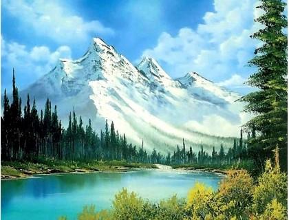 Купить Алмазна вишивка 40 х 30 см на підрамнику Горний краєвид (арт. TN478) квадратні стрази