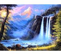 Алмазная мозаика 40 х 50 см на подрамнике Животные у водопада (арт. TN486)