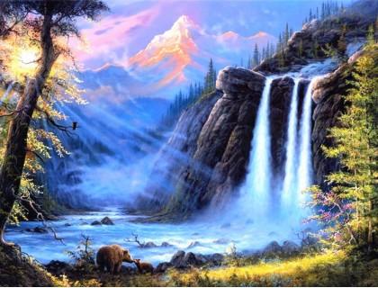 Купить Алмазная мозаика 40 х 50 см на подрамнике Животные у водопада (арт. TN486)