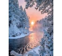 Алмазная вышивка 40 х 30 см на подрамнике Тишина зимнего леса (арт. TN636)