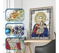 Алмазная мозаика 5D Божья матерь с Иисусом 34 х 24 см (арт. PR1201)