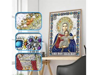 Купить Алмазная мозаика 5D Божья матерь с Иисусом 34 х 24 см (арт. PR1201)