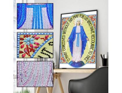 Купить Алмазная мозаика 5D Образ Божьей Матери 34 х 24 см (арт. PR1223)