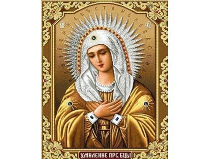 Купить Алмазная мозаика частичная Образ Матери Божией 34 х 24 см (арт. PR721)