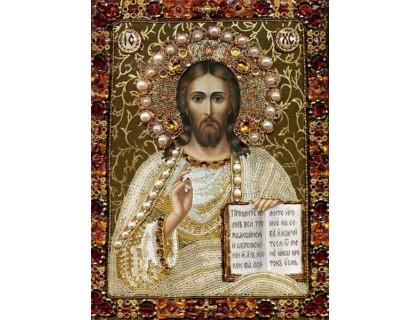 Купить Комплект алмазної вишивки стразами Ікона Спаси, Боже 34 х 24 см (арт. PR556) часткова викладка