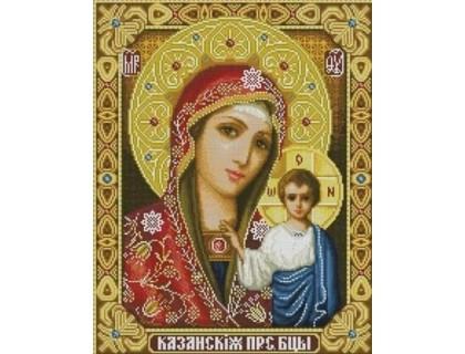 Купить Алмазная мозаика частичная Казанская икона 34 х 24 см (арт. PR618)