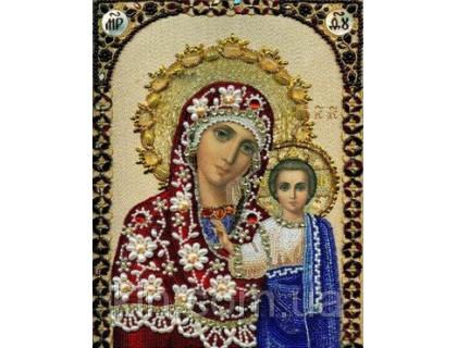 Купить Алмазная мозаика Богородица с сыном икона 34 х 24 см (арт. PR724) частичная выкладка