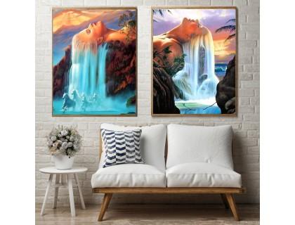 Купить Алмазная вышивка на подрамнике Диптих Королева водопада 2 х 30 х 40 см