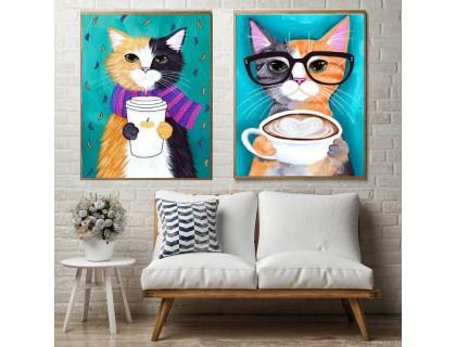 Купить Алмазная вышивка на подрамнике Диптих Коты и кофе 20 х 30 см