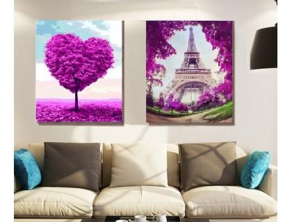 Купить Алмазная вышивка на подрамнике Диптих Любовь в Париже х 30 х 40 см