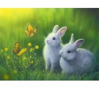 Алмазная вышивка Кролики в траве 40 х 30 см (арт. FR141)