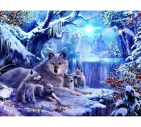 Алмазная вышивка Волчата с мамой 36 х 28 см (арт. FS516)