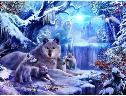 Купить Алмазная вышивка Волчата с мамой 36 х 28 см (арт. FS516)