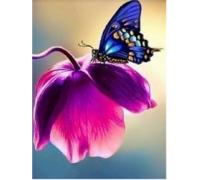 Алмазная вышивка Бабочка на цветке 20 х 25 см (арт. FS044)