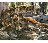 Алмазная вышивка Леопард с детенышами 20 х 25 см (арт. FS070)