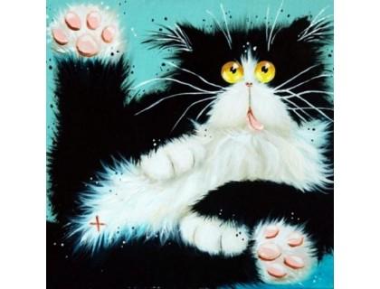 Купить Алмазная вышивка Черно-белый кот 30 х 30 см (арт. FS108) DIY