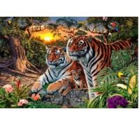 Набор алмазной вышивки Два тигра на закате 30 х 40 см (арт. FS130)