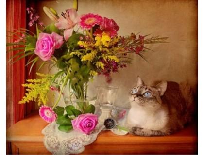 Купить Алмазная вышивка Букет и кот 40 х 30 см (арт. FS152)