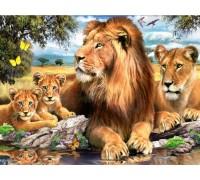 Алмазная вышивка 40 х 50 см на подрамнике Семейство львов (арт. TN675)