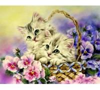 Набор алмазной вышивки Котята в корзинке 38 х 30 см (арт. FS215)